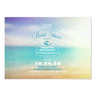 Modern ombre blue vanilla beach bridal shower card