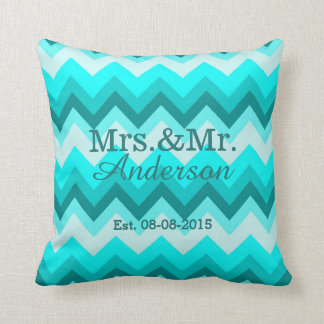 modern ombre turquoise chevron mr and mrs throw pillow