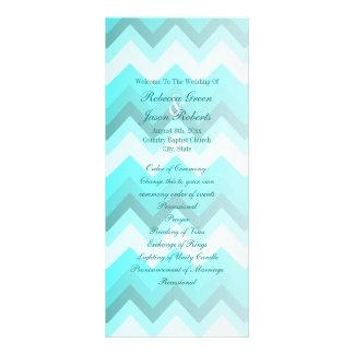 modern ombre turquoise chevron wedding programs custom rack card