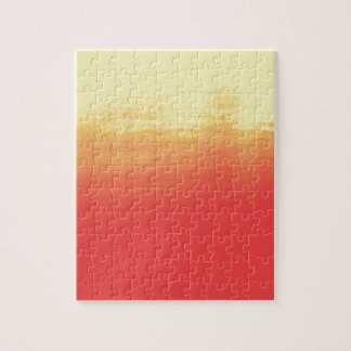 Modern Ombre Watercolor Red and Yellow Jigsaw Puzzle