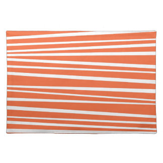 Modern Orange Abstract Tiger Stripes Zig Zag Placemats