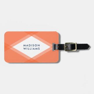 Modern Orange and Blue Layered Geometric Luggage Tag