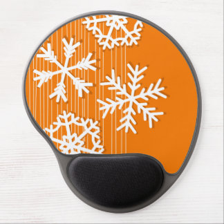 Modern orange and white Christmas  snowflakes Gel Mouse Pad