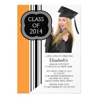 Modern Orange Black Photo Graduation Party Announcements