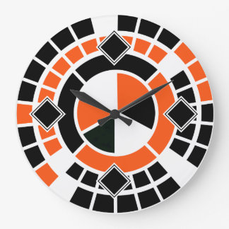 Modern orange black white Wheel Graphic Design Large Clock