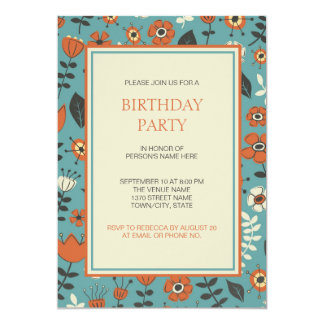 Modern Orange & Blue Floral Birthday Party Card