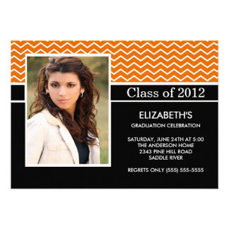 Modern Orange Chevron Photo Graduation Party Personalized Announcements