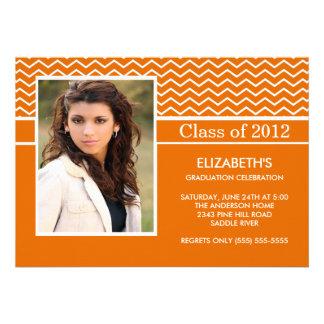 Modern Orange Chevron Photo Graduation Party Custom Invite