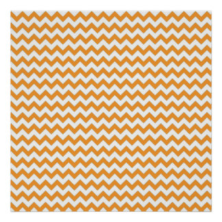 Modern Orange Chevrons Pattern Poster