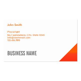 Modern Orange Corner Playwright Business Card