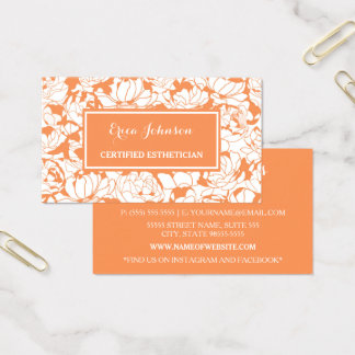Modern Orange Floral Girly Certified Esthetician Business Card