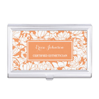 Modern Orange Floral Girly Certified Esthetician Business Card Holder
