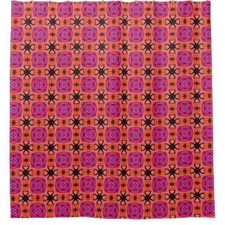 Modern Orange Pink Floral Tile Pattern
