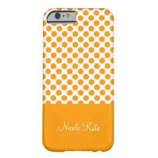 Modern Orange Polka Dots Monogram Barely There iPhone 6 Case