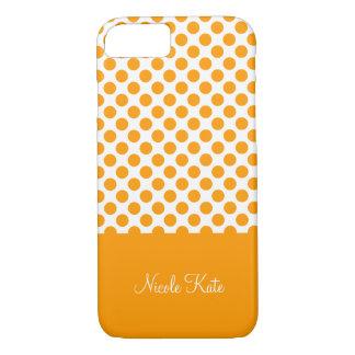 Modern Orange Polka Dots Monogram iPhone 7 Case