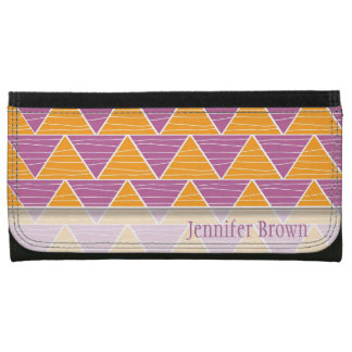 Modern  Orange Purple Triangle Zigzag Pattern Wallet For Women