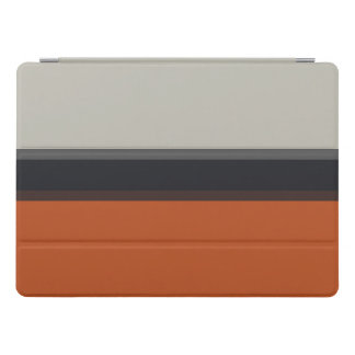 Modern Orange Red Silver Gray Stripe Pattern iPad Pro Cover