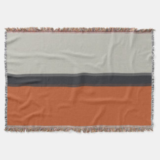 Modern Orange Red Silver Gray Stripe Pattern Throw Blanket