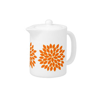 Modern Orange Star Burst Flower Teapot