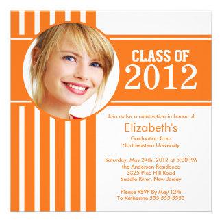 Modern Orange Stripe Photo Graduation Party Personalized Announcements