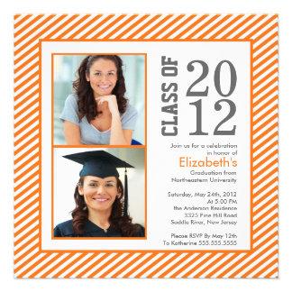 Modern Orange Stripes Photo Graduation Invitation