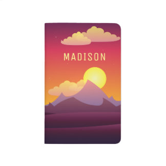 Modern Orange Sunset Landscape Customized Name Journal