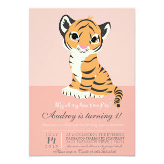 Modern Orange Tiger Pink Invitation
