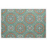 Modern Orange Turquoise Ethnic Mosaic Pattern Fabric