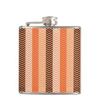Modern Orange Variegated Chevron Stripes Pattern Hip Flask