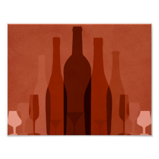 Modern orange wine bottles poster