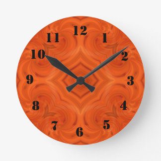 Modern orange wood pattern round clock