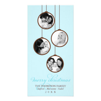 Modern Ornament Blue & Brown Merry Christmas Personalized Photo Card