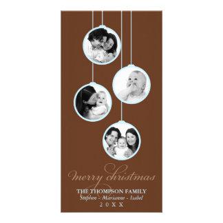 Modern Ornament Brown & Blue Merry Christmas Photo Card Template