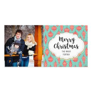 Modern Ornaments Holiday Christmas Photo Card