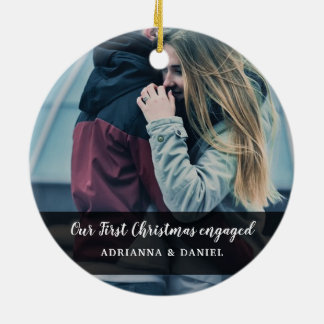 Modern Our First Christmas Engaged Couple Photo Ceramic Ornament