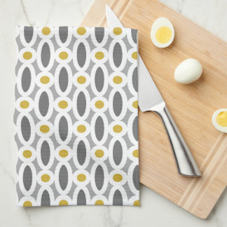 Modern Oval Links Pattern Yellow and Grey Kitchen Towels