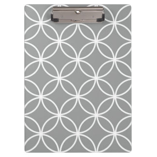 Modern Overlapping Circles Pattern Grey and White Clipboard