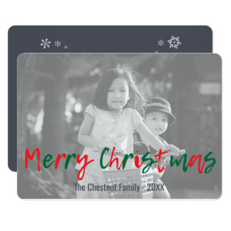 Modern Overlay Green Red Merry Christmas Script Card
