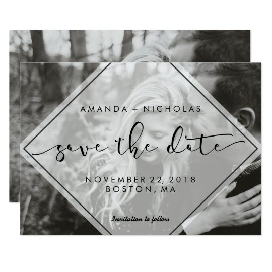 Modern Overlay Photo Save the Date Announcement