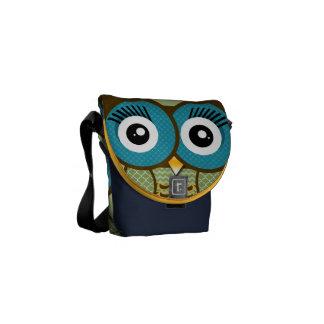 Modern Owl Green Aqua Navy Cute Geometric Pattern Courier Bag