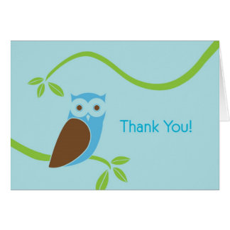 Modern Owl Thank You Cards - Blue Owl