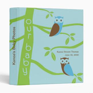 Modern Owl Tree Baby Photos Book Binder - Blue Owl