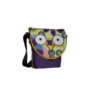 Modern Owl Yellow Purple Cute Geometric Pattern Courier Bags