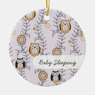 "Modern Owls ""Baby Sleeping"" Door Hanger Round Ceramic Ornament"