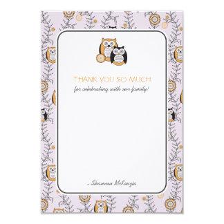 Modern Owls Thank You Flat Cards Custom Invitation