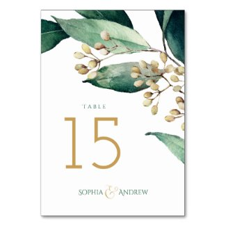 Modern painted botanical greenery rustic wedding table number