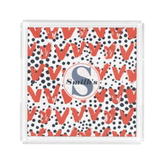 Modern Painted Hearts and Dots pattern Monogrammed Acrylic Tray
