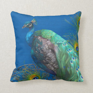Modern Painting Peacock Tail Feathers Royal Blue Throw Pillow