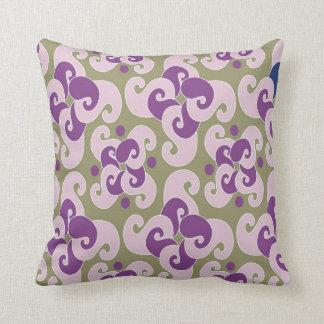 Modern Paisley And Polka Dots :Green Purple Throw Pillows