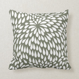 Modern Paisley Flower in Olive Green and White Throw Pillow